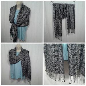 "Talbots womens scarf Black silver 21"" x 70"" oblong"